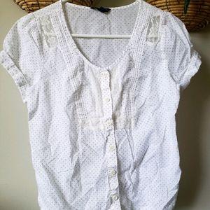 Polka dots short sleeve blouse